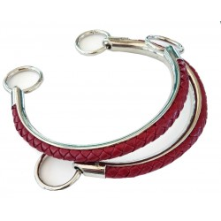 Handles for Handbag in Faux Leather - Color Burgundy