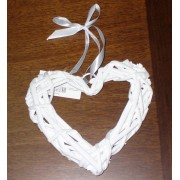 Heart Willow Wreath - Diameter 15 cm - White