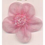 Organza Flower with Little Beads - Pink
