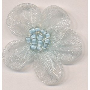 Organza Flower with Little Beads - Light Blue