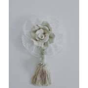 Home Decor - Ceramic Rose with Cotton Lace