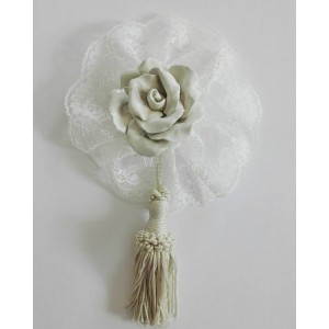Home Decor - Ceramic Rose with Valencienne Lace