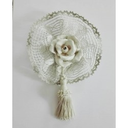 Home Decor - Ceramic Rose with Cotton and Linen Lace