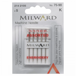 Milward - Machine Embroidery Needles - Assorted 75 - 90