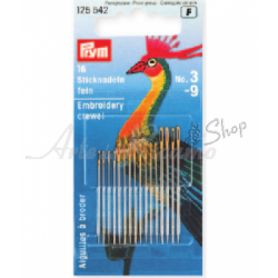Prym - Embroidery Crewel Needles, with Gold Eye - Assorted 3-9