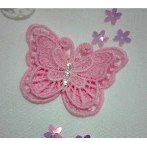 Butterfly Lace Decoration - Pink