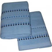 Set Terry Bath Towels  Neos - Color Light Blue with Blue Lines