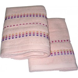 Set Terry Bath Towels  Neos - Color Light Pink with Pink Lines