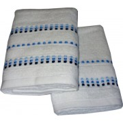 Set Terry Bath Towels  Neos - Color White with Blue Lines