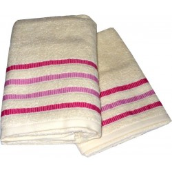 Set Terry Bath Towels  Taus - Color Cream with Pink Lines