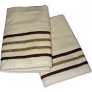 Set Terry Bath Towels  Taus - Color Cream with Brown Lines