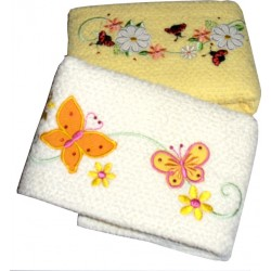 Set of Two Terry Kitchen Dish Towels - Flowers Butterfly and Ladybug - Yellow