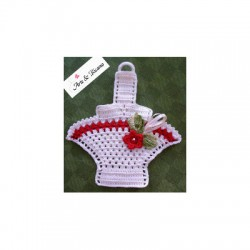 Crochet Potholder - Red Flower Basket
