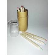 Small Cylindrical Pencilcase with Colors and Pencil Sharpener