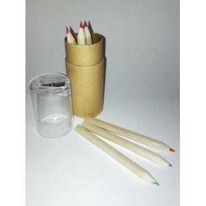 Astuccio Cilindrico Piccolo con Colori e Temperamatite