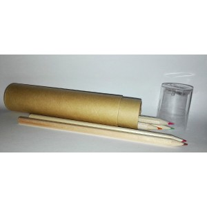 Cylindrical Pencilcase with Colors and Pencil Sharpener