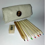 Small Fabric Pencilcase with Colors and Sharpeners