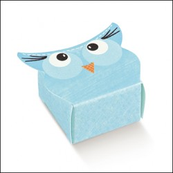 Favor Box for Newborn - Light Blue Owl