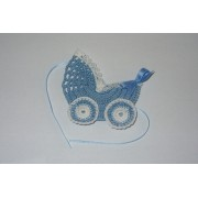 Crochet Favors -  Baby Carriage - Light Blue