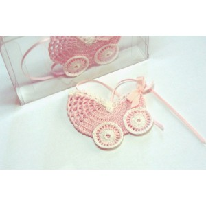 Crochet Favors -  Baby Carriage - Pink