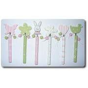 Wooden Pencils with Decorations Pink and Green