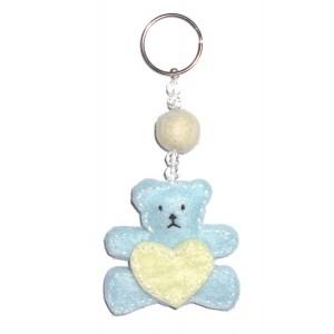 Felt Keychain - Light Blue Teddy Bear