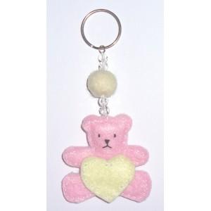 Felt Keychain - Pink Teddy Bear