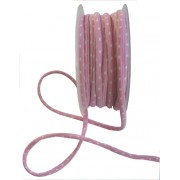 Elastic Tubular Ribbon - Pink with White Dots