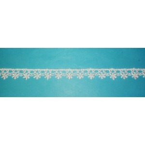 Macrame Lace Border with Flowers - White Color - Width 1 cm