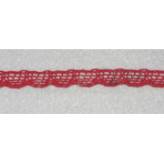 Red Bobbin Lace Border - Width 1 cm