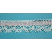 White Bobbin Lace Border with Pink Ribbon