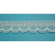 White Bobbin Lace Border with Light Blue Ribbon