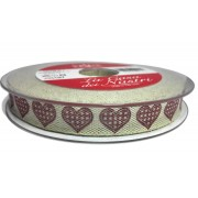 Cream Christmas Ribbon with Bordeaux Hearts