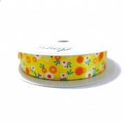 Yellow Satin Ribbon with Flowers 25 mm