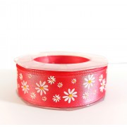 Fuxia Satin Ribbon with Flowers 25 mm