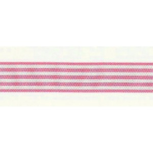 Horizontal Stripes Ribbon - Pink and White 16 mm
