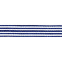Horizontal Stripes Ribbon - Dark Blue and White 16 mm