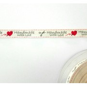 Hand Made with Love Ribbon - Cream with Red Heart