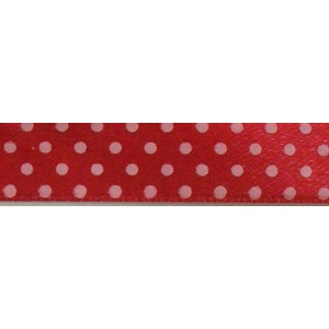 Pois Satin Ribbon - Red - 13 mm