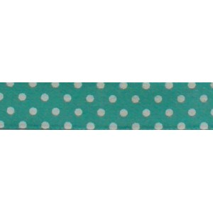 Pois Satin Ribbon - Green Tiffany - 13 mm
