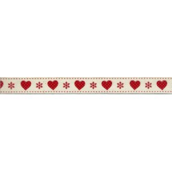 Cream Christmas Ribbon with Red Hearts and Snowflakes