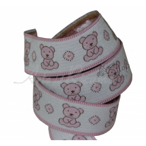 Pink Passementerie with Bears - Width 25mm