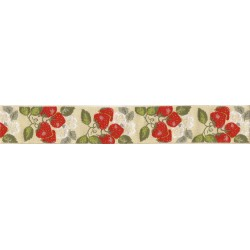 Jacquard Ribbon - Strawberries -  Width 5 cm