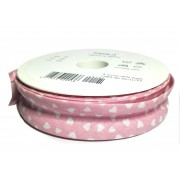 Cotton Bias - Width 25mm - Pink with White Hearts