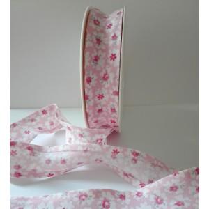 Cotton Bias - Width 25mm - Pink Flowers