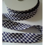 Cotton Bias - Width 25mm - Blue and White Square