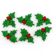 Decorative Christmas Buttons - Holly
