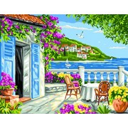 Royal Paris - Needlepoint Canvas Garden Coast Scene