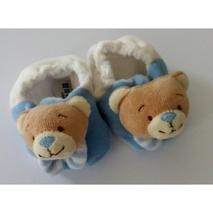 Baby Shoes with Teddy Bear - Light Blue