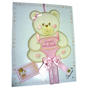Baby Cockade Announcement with Teddy Bear  - Pink